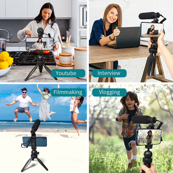 MAONO Smartphone Video Microphone Kit Super-Cardioid Shotgun Interview Vlog Mic with Tripod Stand for DSLR Camera Phone PC 2