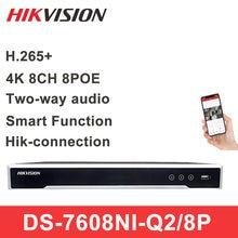 Hikvision original 8ch 16ch 4k poe nvr DS-7608NI-Q2/8p h.265 + 8mp poe nvr para câmera ip suporte em dois sentidos áudio gravador de rede