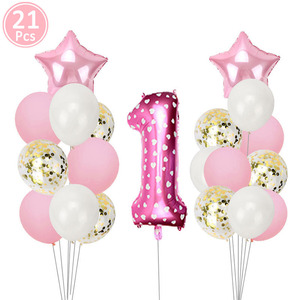 Image 3 - First Happy Birthday Pink Balloon Banner Party Decoration Star Garland Baby Kids Boy Girl My 1st One 1 Year Supplies Confetti
