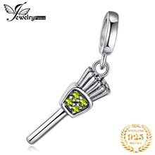 JewelryPalace 925 Sterling Silver Yellow Cubic Zirconia Dangle Brush Charm Fits Bracelets For Women Fashion Jewelry As Gifts