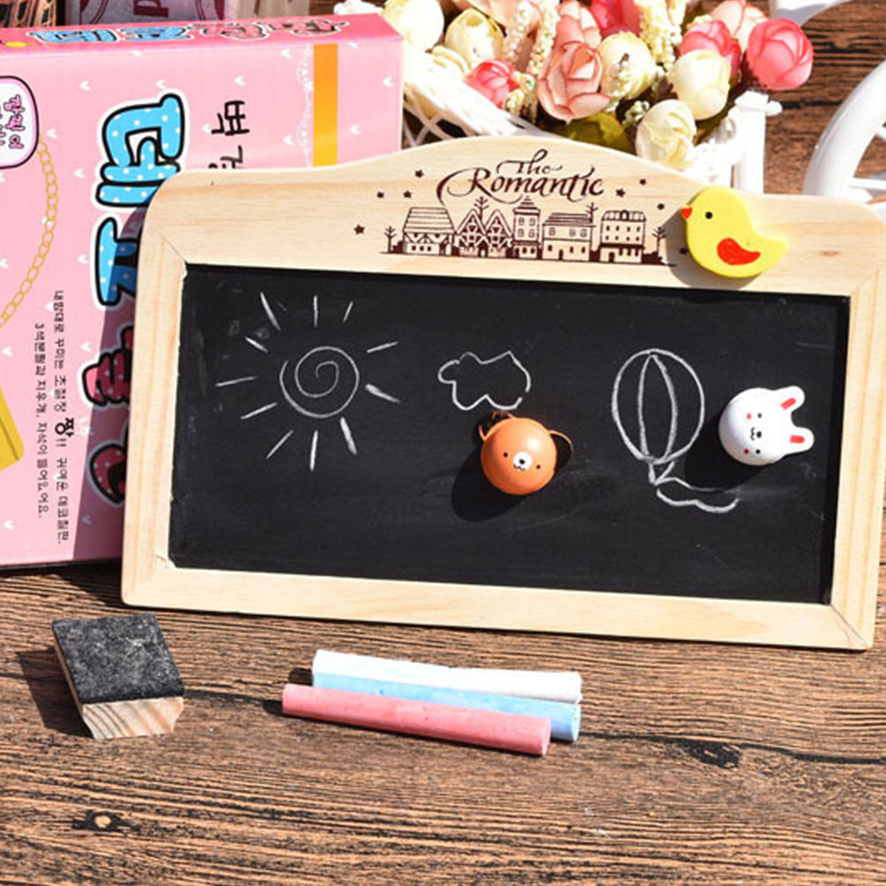 Double Sided Wooden Writing Restaurant Coffee Shop Blackboard Decorative Mini With Eraser Bar Magnetic Hanging Message Leave
