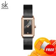 Shengke relógios femininos moda genebra designer senhoras relógio de luxo marca retângulo relógio de pulso de quartzo presentes de luxo para mulher