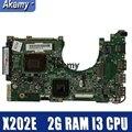 Материнская плата для ноутбука Amazoon X202E для ASUS X202E X201E S200E X201EP протестированная оригинальная материнская плата 2G RAM I3 CPU