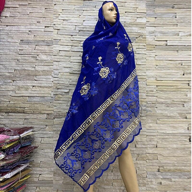 Top Selling African Women Scarf Muslim Embroidery Cotton Splicing Net Scarf Big Scarf Soft Headscarf Women Hijab Scarf BM816