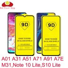 10 adet 9D temperli cam Samsung Galaxy A01 A31 A51 A71 A91 A7E M31 ekran koruyucu not 10 Lite s10 Lite kapak film film