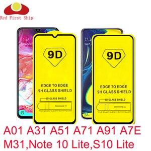 Image 1 - 10Pcs 9D מזג זכוכית עבור Samsung Galaxy A01 A31 A51 A71 A91 A7E M31 מסך מגן הערה 10 לייט s10 Lite כיסוי סרט סרט