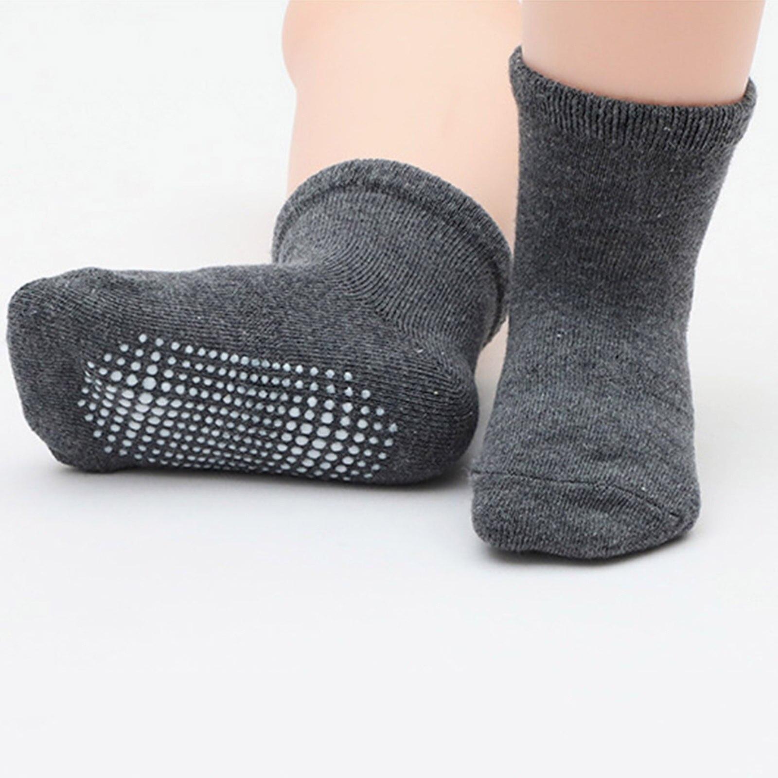 6 пар Дети для маленьких мальчиков и девочек Однотонные Нескользящие трикотажные теплые носки с кожаной подошвой носки нескользящие носки до лодыжки; Все сезоны; #40|Носки|   | АлиЭкспресс