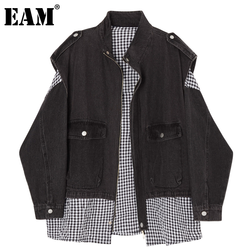 [EAM] Loose Fit Black Plaid Denim Big Size Jacket New Lapel Long Sleeve Women Coat Fashion Tide Spring Autumn 2020 1DD0009 1