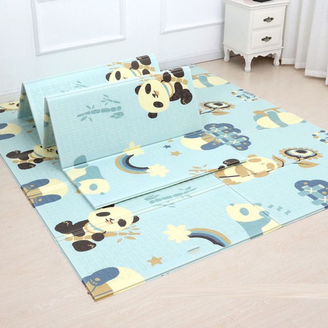 $ US $22.00 180*200CM Baby Play Mat Foldable Cartoon Baby Play Gym Game Mat  Xpe Puzzle Kid's Developing Mat with Animals