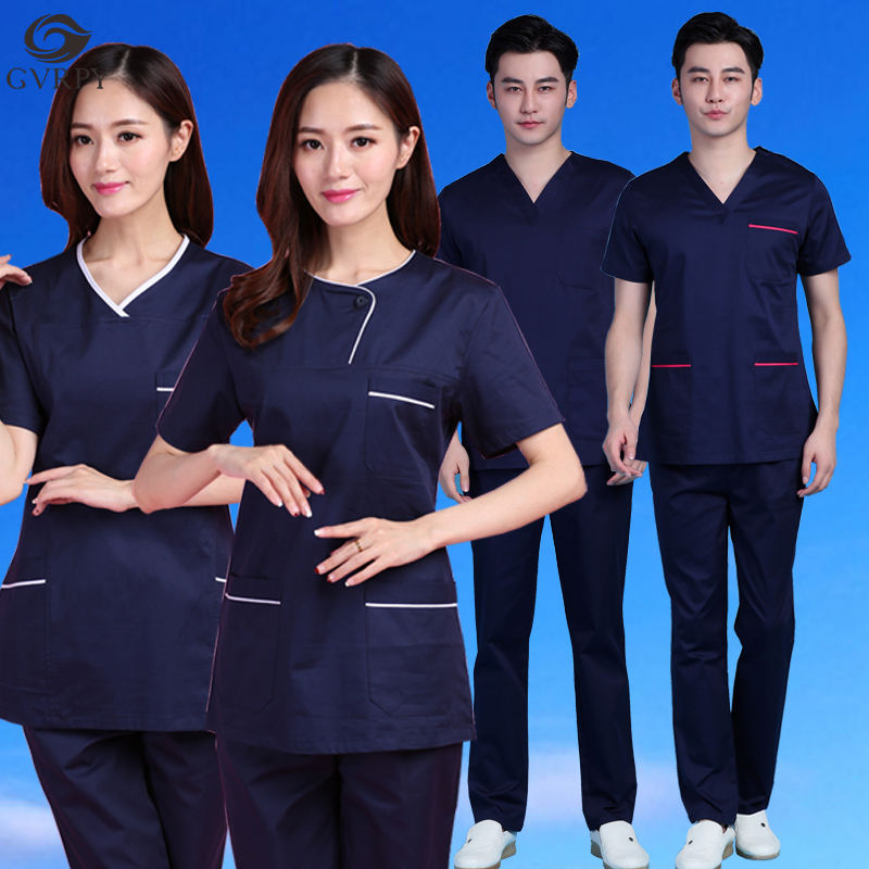 Unisex Navy Blue Scrub Medical Uniforms Operating Room Brush Hand Clothes Hospital Salon Dental Clinic Pharmacy Nurse Overalls