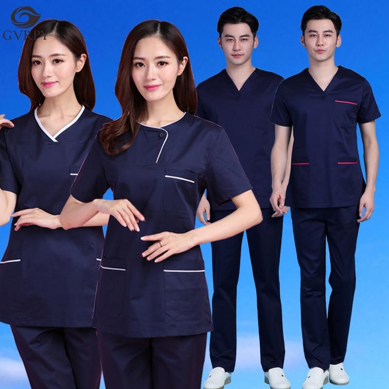 Unisex Navy Blue Scrub Medical Uniforms Operating Room Brush Hand Clothes Hospital Salon Dental Clinic Pharmacy Nurse Overalls