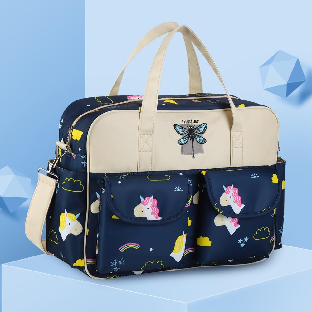 Insular Waterproof Nylon Printed One-Shoulder Mommy Bag Crossover Shoulder Bag/hand Bag MOTHER'S Bag Large Capacity Diaper Bag C
