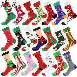 Хлопчатобумажные носки с рождественскими мотивами Женская и мужская обувь новая 2019 осень-зима Новый год Санта Клаус новогодняя елка; снег