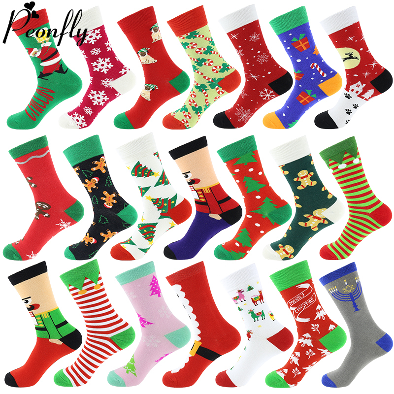Cotton Christmas Socks Women &Men New 2019 Autumn Winter New Year Santa Claus Christmas Tree Snow Elk Gift Happy Socks PEONFLY