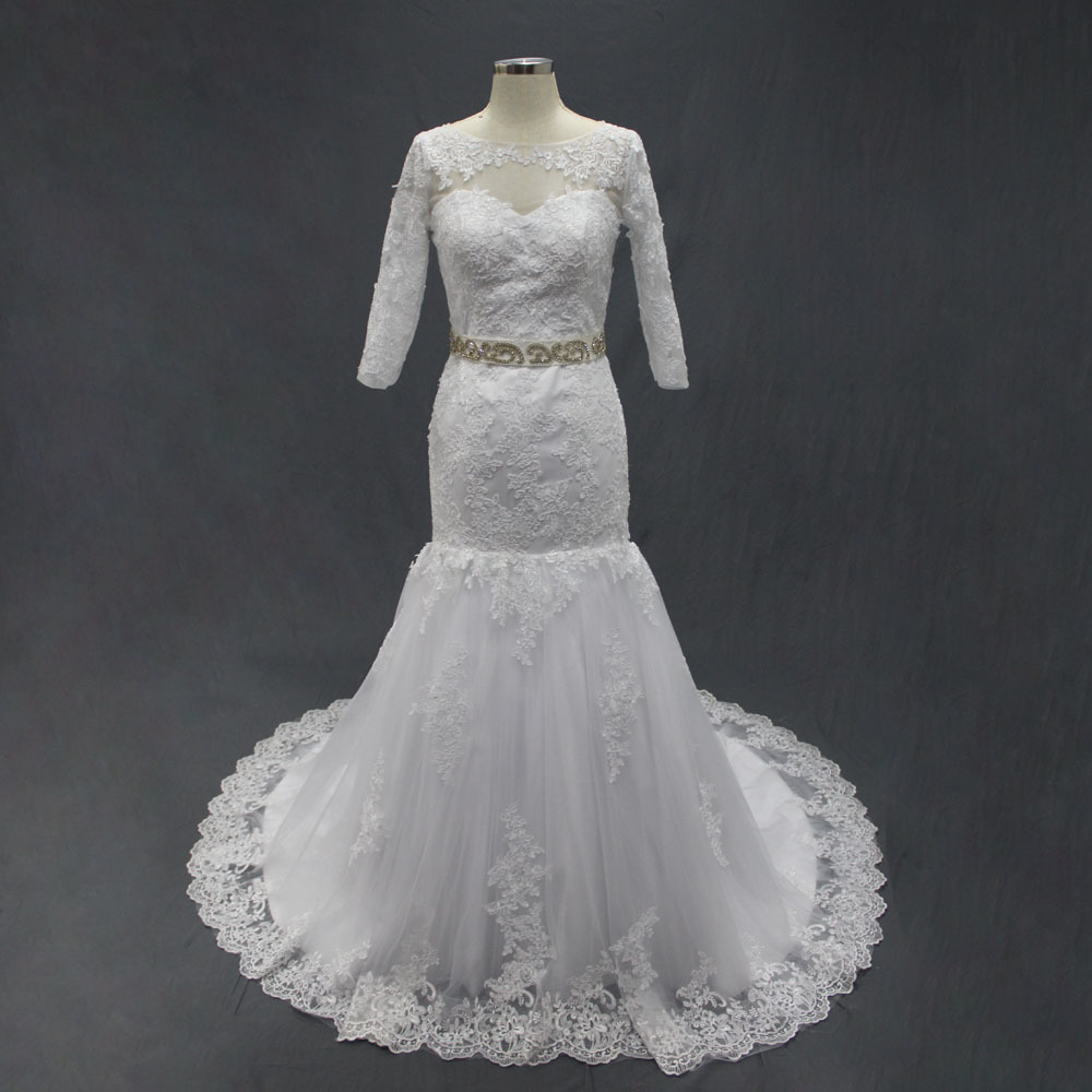 2015 Fashion Winter Wedding Dresses Real Photos Custom Made Lace Tulle Sashes With Crystals Bridal Gown