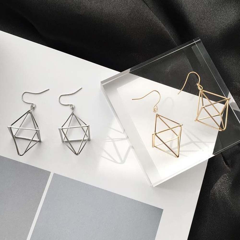 1 Pair Minimalist Hollow Polygon Earrings For Women Lantern 3D Stereoscopic Punk Earrings Party Jewelry