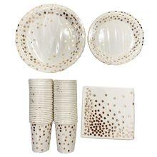 Розовое золото точка одноразовые чашки бумажные тарелки набор салфеток 200 шт Обслуживание для 50 гостей Праздничные рождественские Вечерние
