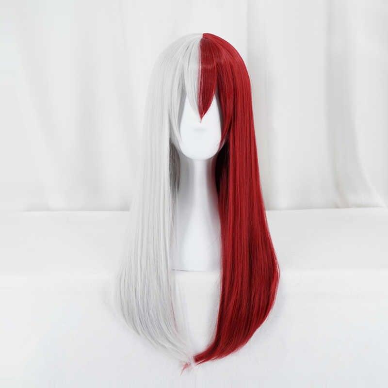 My Hero Academia Todoroki Shoto peruk Boku hiçbir kahraman Academia kırmızı ve beyaz saç cadılar bayramı partisi Cosplay kostüm peruk + peruk kap