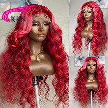Perruque Lace Front wig Remy naturelle, Body Wave, 13x4, avec Baby Hair, balayage rouge rose, pour femmes