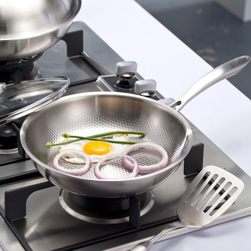 Stainless Steel Pan Uncoated Non-stick Wok Pan Gas Induction Cooker Household Pot Cast Iron Wok Induction Pan Cooking Pot