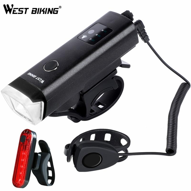 Luz frontal de bicicleta de ciclismo occidental USB recargable impermeable linterna de bicicleta LED linterna de seguridad de escalada
