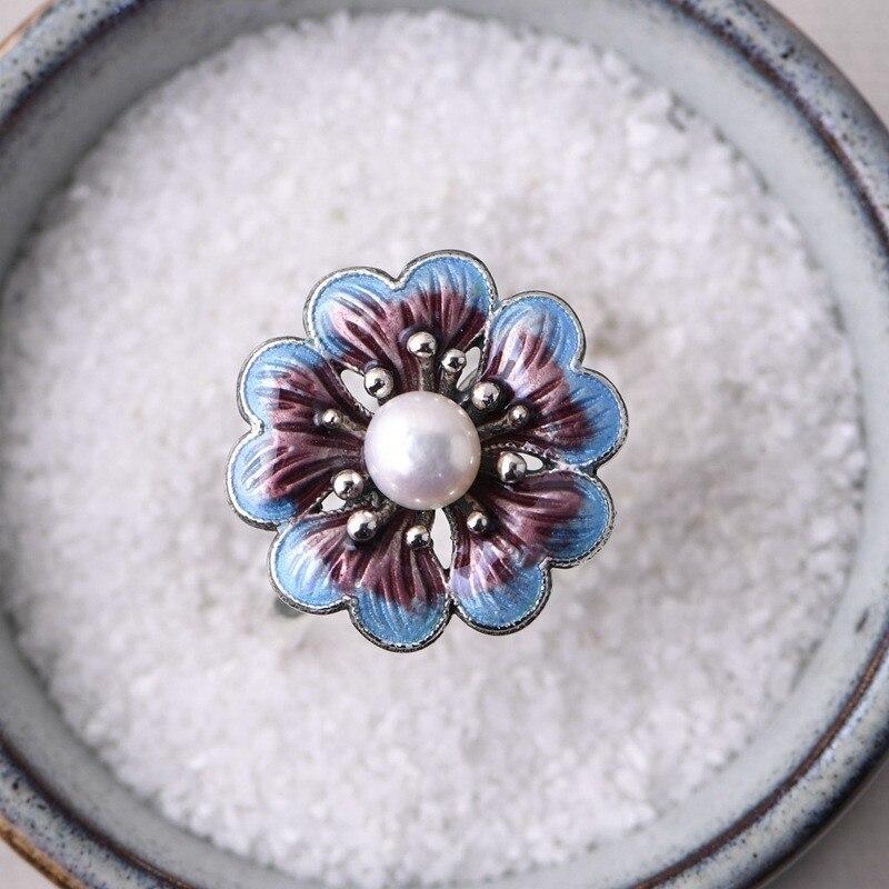 Image 2 - V.YA Lady Pearl Ring Freshwater Natural Pearl Rings 925 sterling silver Enameling Ring Women Wedding Birthday GiftEngagement Rings   -