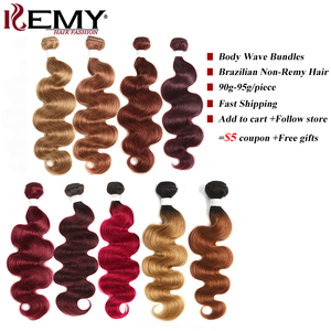 Blond Brown Red Color Human Hair Bundles 1PC Brazilian Body Wave Human Hair Extension 8-26 Inch Non-Remy Hair Weave Bundles KEMY(China)