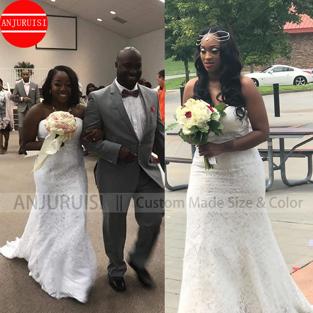 Lace Wedding Dress Mermaid Vestido De Noiva 2020 Gown Robe Mariage Vestito Da Festa Di Nozze Suknia Slubna Trouwjurk Simple Boda 3