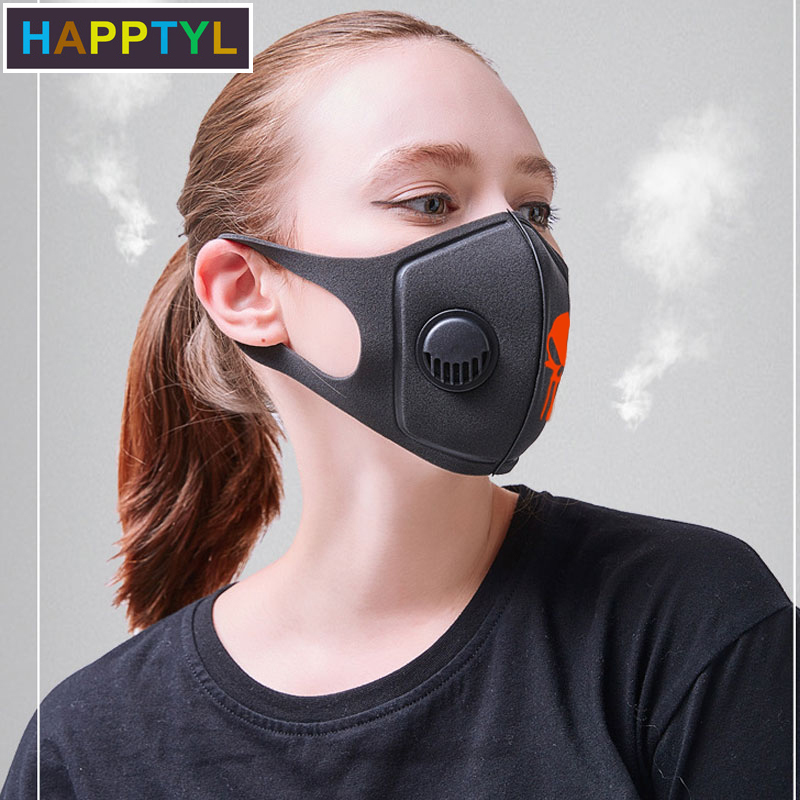 HAPPTYL Respiratory Dust Mask Men & Women Anti-fog Haze Dust Pm2.5 Pollen 3D Cropped Breathable Skull Mouth Mask