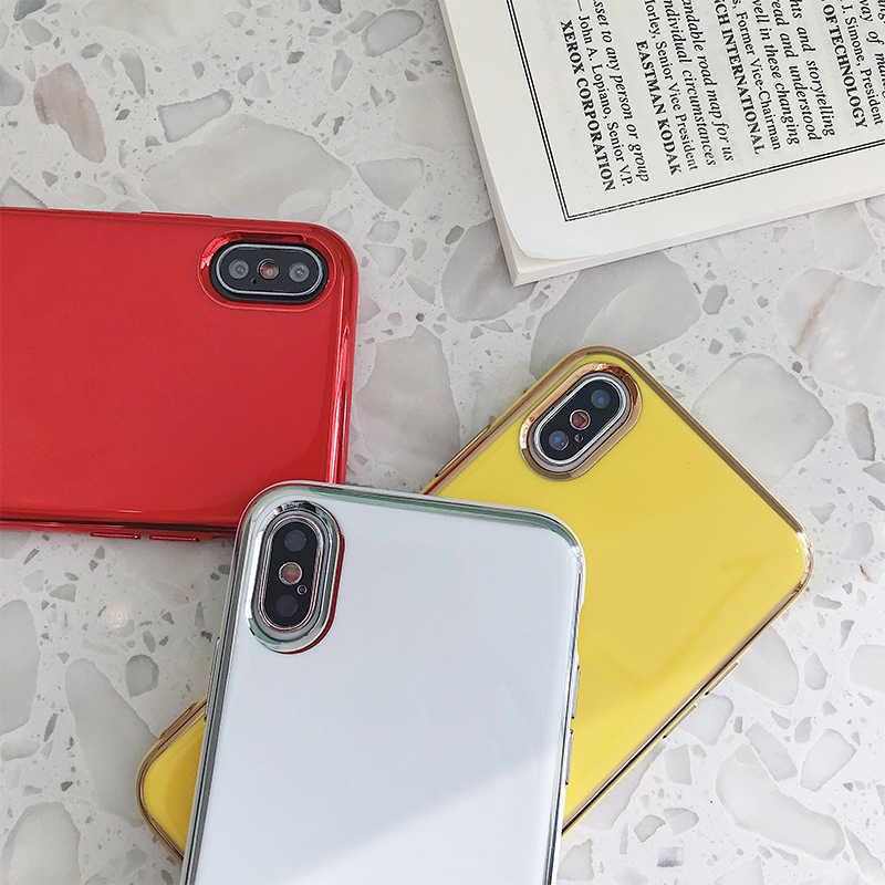 소프트 tpu 전기 도금 된 전화 케이스 아이폰 6 6s 7 8 플러스 xs 최대 xr xsmax coque 부드러운 솔리드 컬러 실리콘 고무 커버 capa
