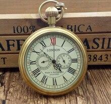 العتيقة النحاس لندن الجيب و فوب الساعات الميكانيكية ساعة اليد الرياح الهيكل العظمي رجالي ساعة جيب ذات سلسلة عيد الميلاد هدية