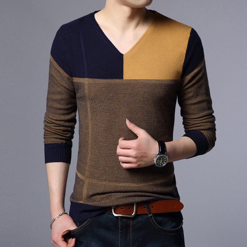 2019 New Designer Pullover Patchwork Men Sweater Dress Jersey Knitted Sweaters Mens Wear Slim Fit Knitwear Fashion Clothing
