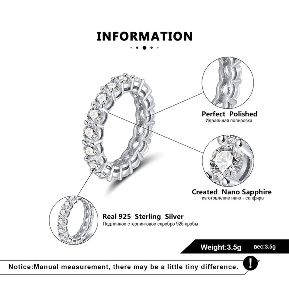 H6d7c6633a73d47b492a4b38e7848edffm Effie Queen Women's Sterling Silver Ring Female Couple Wedding Band Eternity Round Zircon 925 Silver Rings Jewelry DSR167