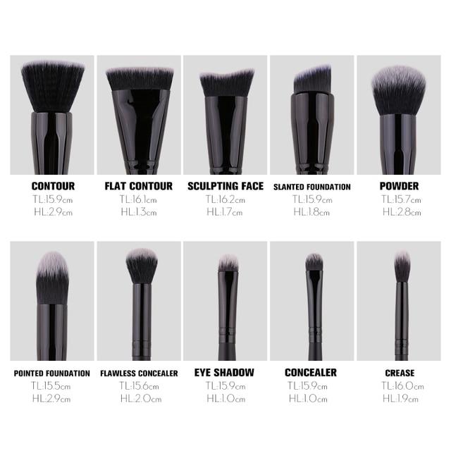 ZOREYA Classic Black Makeup Brushes 7/9/15pcs Comfortable Synthetic Hair Make Up Brush Set Foundation Eye Shadow Cosmetics Tool 4