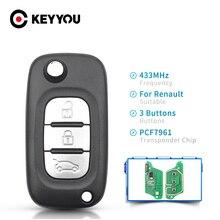 مفتاح KEYYOU للقلب عن بعد للسيارة رينو سينيك III Megane III Fluence 2009 2015 VA2 شفرة فوب 2/3 أزرار رقاقة PCF7961 433MHz