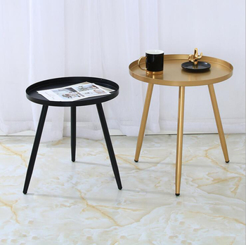 Folding round coffee table iron sofa small side table hotel bedside table black gold end table coffee tea table solid wood coffee table round small table simple sofa side table nordic side table