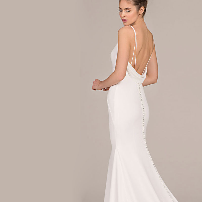 2018 Europe And America Wedding Dress Late Formal Dress AliExpress Hot Selling Sexy Camisole V-neck Bridesmaid Formal Dress
