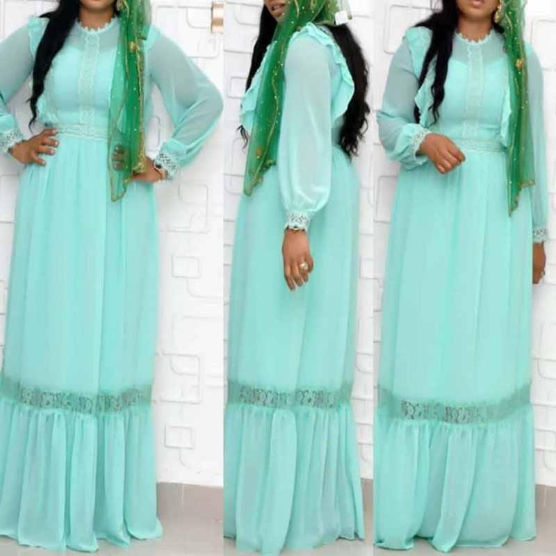בציר בתוספת גודל אפריקאי פרחוני הולו תחרת שיפון מקסי שמלת פנס שרוול מזדמן אלגנטי שיק גבוהה מותן נשים המפלגה Robe
