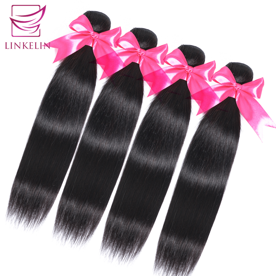 Linkelin cabelo peruano pacotes de cabelo reto 100% remy extensão do cabelo humano cor natural 1/3/4 pacotes cabelo reto tece