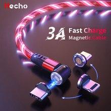 Cable USB magnético Mrcio de 540 grados para iphone 12, cargador magnético para teléfono móvil, Cable de carga con luz LED, Cable de USB-C tipo C