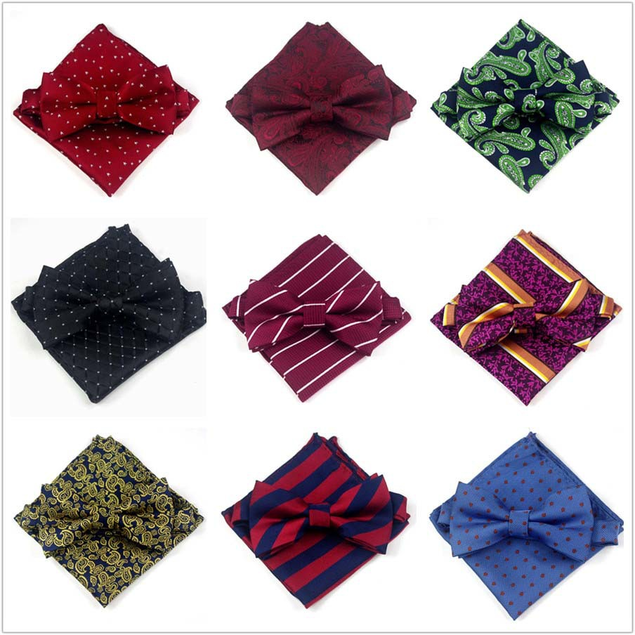 MEN'S Bow Tie Pocket Square Set Formal Wear Marriage Groom Bowtie Suit Pocket Square Kerchief Bowtie