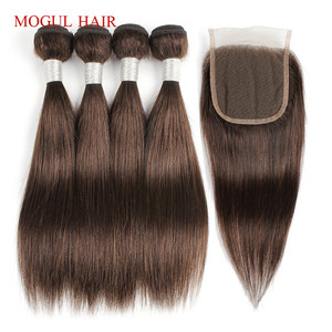 Image 4 - MOGUL HAIR 50g/pc 4 Bundle with Closure Honey Blonde Bundles With Closure T 1B 27 Brazilian Straight Ombre Non Remy Human Hair