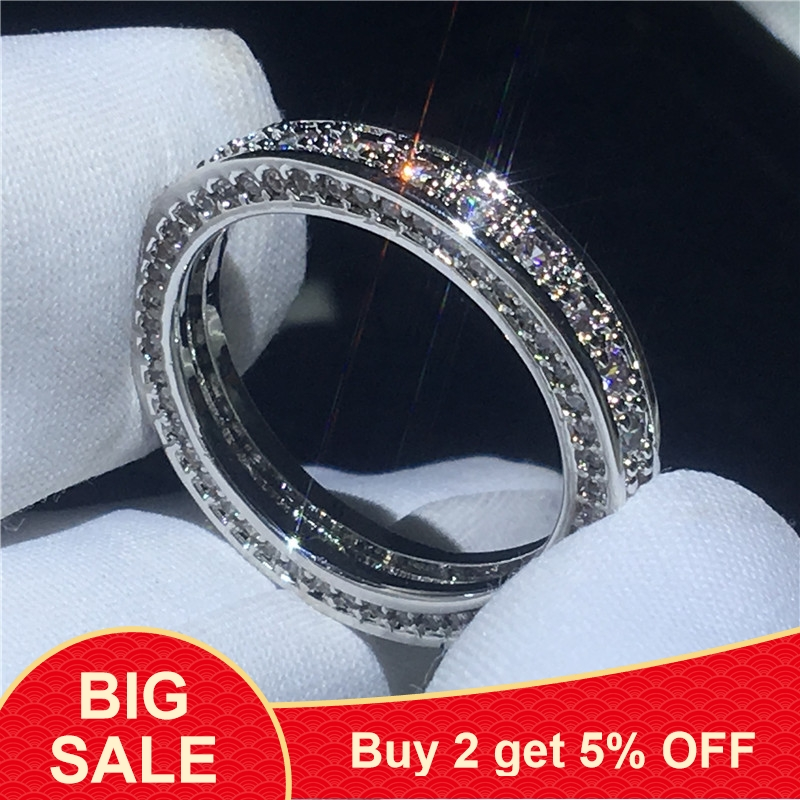Fashion Dainty Ring Pave Set Cz Stone 925 Sterling Silver Party Wedding Band Rings For Women Valentine's Day Gifts