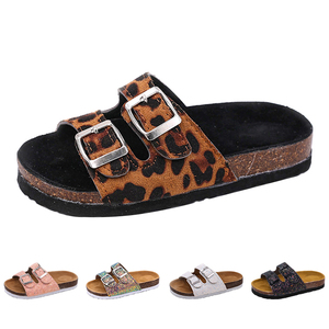 Image 2 - 2019 New Kids Slippers Summer Beach Children Cork Sandals Bling Sequins For Family Shoes Leopard Barefoot Flats Girls Slipper