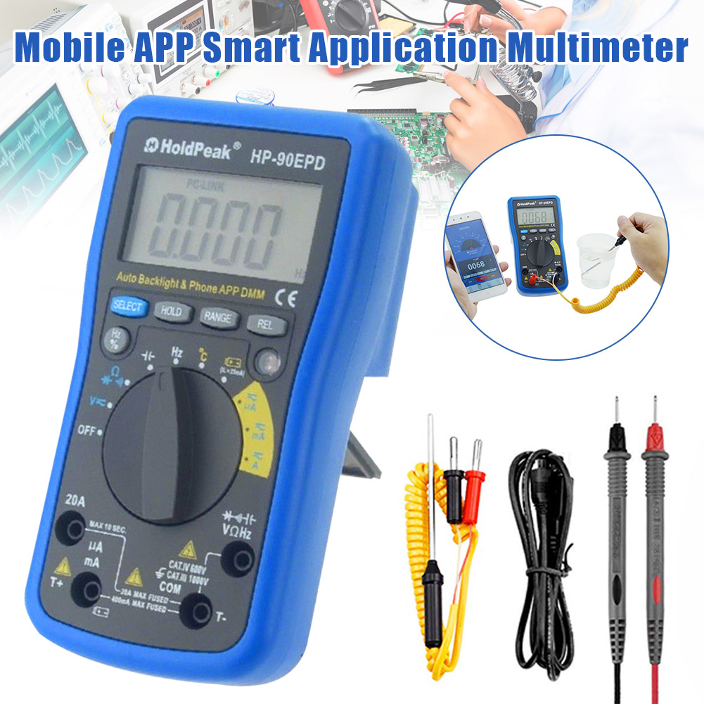 Digital Multimeter HP-90EPD Multi-tester Auto Range Ohmmeter Voltage AC DC Resistance Current Capacity Tester PUO88