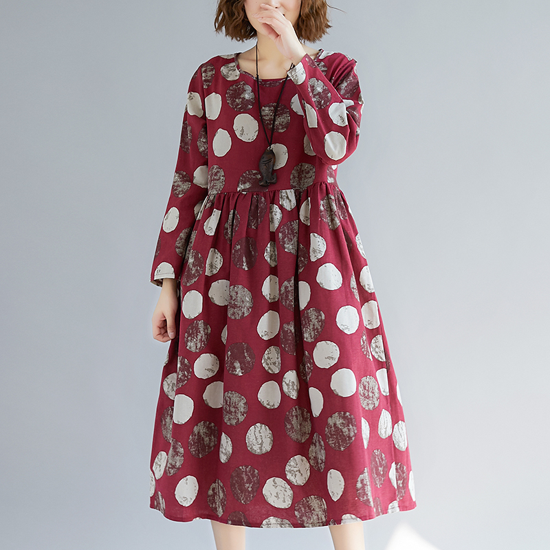 Cotton Linen Long Sleeve Autumn Dress Print Dot Loose Women Dress Plus Size Vintage Dress Female Spring Casual Midi Dress 6