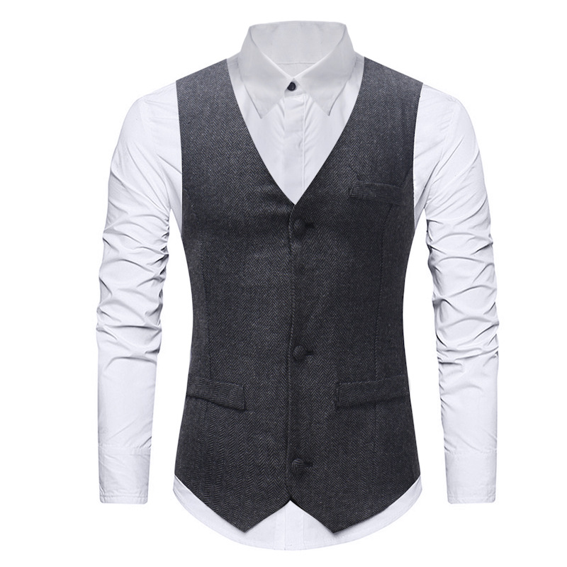 Hommes Gentleman formel Slim Fit simple boutonnage robe costume gilet 2019 mode de mariage Tweed gilet gilet pour homme d'affaires