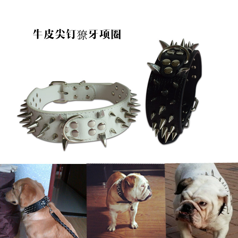 Pet Collar Cowhide Cone Type Rivet Neck Ring Tibetan Mastiff Dog Anti-Bite Dog Neck Ring And Medium-sized Dog
