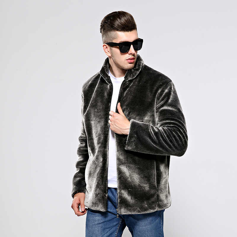 秋の冬のコート男性フェイクファーコートジャケット男模造毛皮コートメンズの服コートバーシティオスオーバー Jaqueta デ Couro KJ317