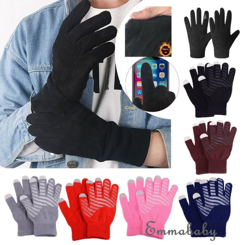 Unisex Winter Warm Capacitive Knit Gloves Hand Warmer Touch Screen Mitten Smart Phone Female Gloves 2020 New Gloves Men Women